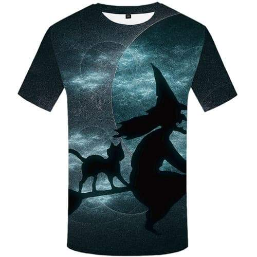 Halloween T shirts Men Witch Tshirts Novelty Cat Tshirt Printed Animal T-shirts 3d Ghost Tshirt Anime Short Sleeve Hip hop - KYKU