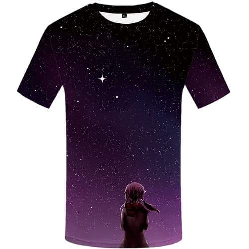 Aurora T shirts Men Cartoon Tshirts Cool Galaxy Space Shirt Print Harajuku Tshirt Printed Beautiful Tshirts Novelty Short Sleeve