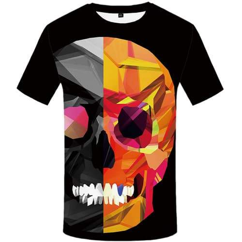 Skull T shirts Men Geometric Tshirts Novelty Colorful Tshirt Anime Graffiti Tshirts Casual Black Shirt Print Short Sleeve - KYKU