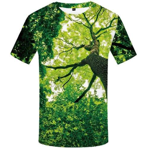 Eye T shirts Men Refraction Tshirts Cool Forest T-shirts Graphic Tree T shirts Funny Green Tshirts Novelty Short Sleeve T shirts - KYKU