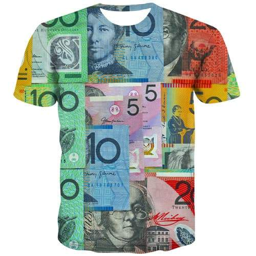 Australian Dollar T shirts Men Money Shirt Print Australia Tshirts Casual Colorful Tshirts Novelty Abstract Tshirt Anime - KYKU