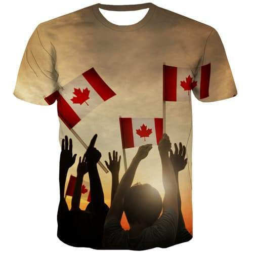 Canadian Flag T-shirt Men Maple Leaf Tshirts Casual Canada T-shirts 3d Harajuku Tshirt Anime Abstract Tshirt Printed - KYKU