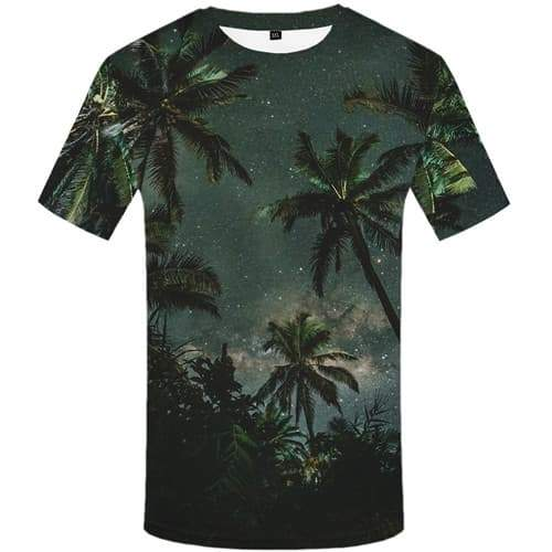 Coconut Tree T-shirt Men Forest T-shirts Graphic Galaxy Space Tshirts Cool Harajuku T shirts Funny Green Tshirt Printed - KYKU