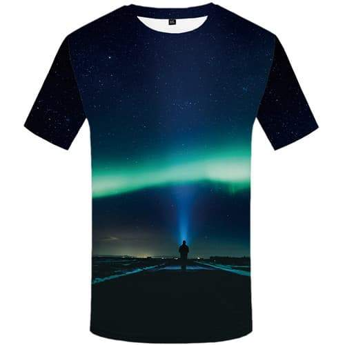 Northern Lights T-shirt Men Aurora Tshirts Cool Character Tshirt Printed Harajuku Tshirts Casual Gothic Tshirts Novelty