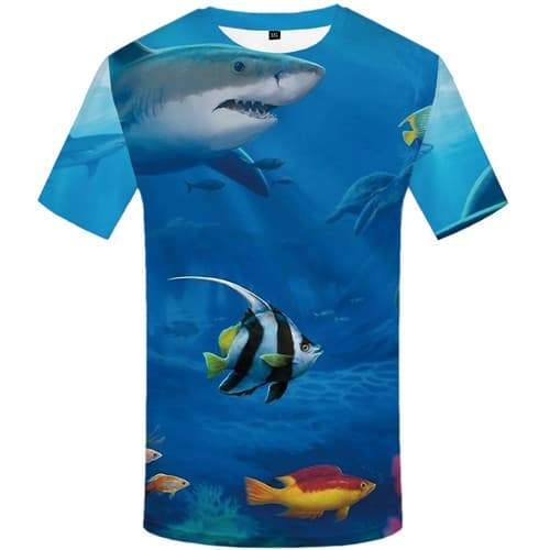Shark T shirts Men Fish Shirt Print Animal T-shirts 3d Ocean Tshirt Printed Blue Tshirt Anime Short Sleeve Hip hop Men women Tee