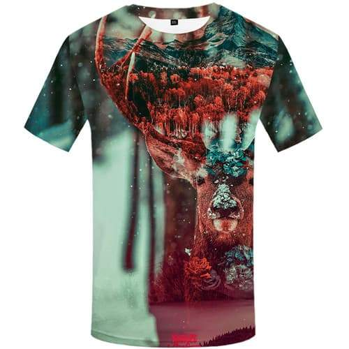 Deer T-shirt Men Geometric Flower T-shirts 3d Animal T-shirts Graphic Mountain Tshirts Casual Art Shirt Print Short Sleeve