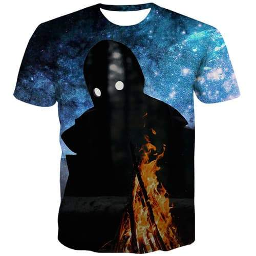 Flame T-shirt Men Psychedelic Tshirts Cool Space Shirt Print Fire T shirts Funny Gothic T-shirts 3d Short Sleeve summer Mens Tee - KYKU