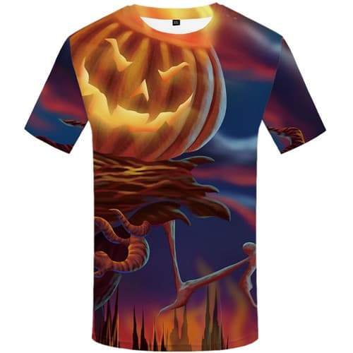 Halloween T shirts Men Pumpkin T-shirts 3d Cosplay T shirts Funny Psychedelic Tshirts Cool Gothic Tshirts Casual Short Sleeve - KYKU