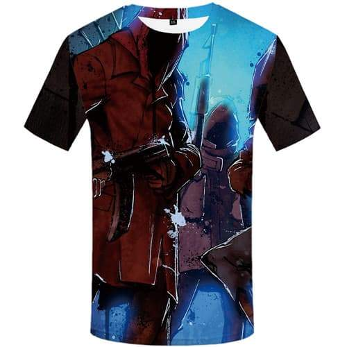 Gun T shirts Men War T shirts Funny Graffiti Tshirt Anime Cosplay Tshirts Casual Cartoon T-shirts 3d Short Sleeve Hip hop Men - KYKU