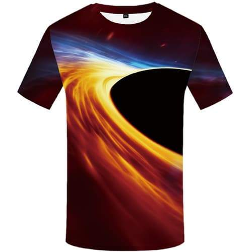 Galaxy T-shirt Men Space Shirt Print Black Hole Tshirts Cool Flame Tshirts Novelty Psychedelic T-shirts Graphic Short Sleeve - KYKU