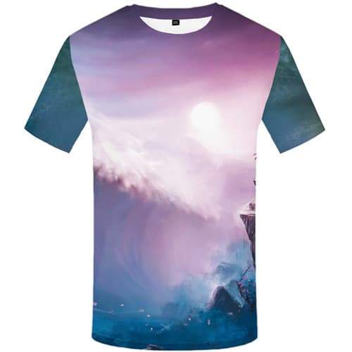 Wave T shirts Men Cartoon Tshirt Anime Character T shirts Funny Mountain T-shirts 3d Moon Tshirt Printed Short Sleeve Hip hop - KYKU