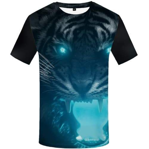 Tiger T shirts Men Animal Tshirt Anime Angry Tshirts Casual Black T-shirts Graphic Short Sleeve Hip hop Unisex New Slim Big Size - KYKU