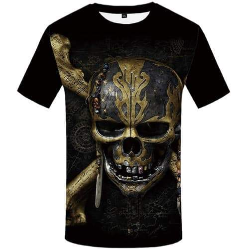 Skull T shirts Men Metal Tshirt Printed Black Tshirts Cool Mechanical Tshirt Anime Gothic Tshirts Novelty Short Sleeve T shirts - KYKU