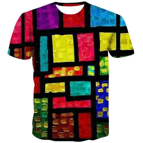 Psychedelic T-shirt Men Graffiti T shirts Funny Tetris T-shirts 3d Colorful Tshirt Printed Harajuku Tshirts Casual Short Sleeve - KYKU