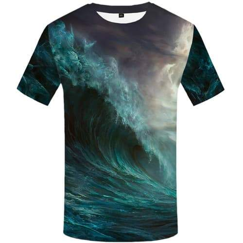 Wave T shirts Men Cloud T-shirts Graphic Colorful Tshirt Printed Fantasy Tshirt Anime Cartoon Tshirts Casual Short Sleeve - KYKU