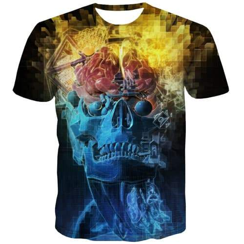 Skull T shirts Men Punk Shirt Print Hip Hop Tshirts Novelty Funny Tshirt Anime Colorful Tshirts Casual Short Sleeve Fashion Mens