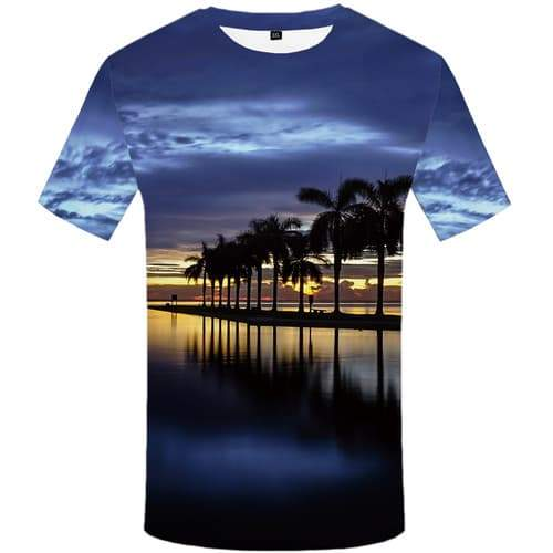 Coconut Tree T-shirt Men Sky T-shirts 3d Cloud Tshirts Casual Water Shirt Print Harajuku Tshirts Cool Short Sleeve T shirts - KYKU