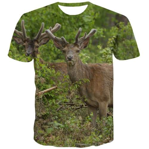 Deer T-shirt Men Animal Tshirts Cool Deep Forest Tshirt Printed Hip Hop Tshirts Casual Christmas T-shirts Graphic Short Sleeve - KYKU