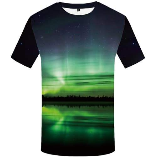 Aurora T shirts Men Northern Lights Tshirt Printed Forest T-shirts Graphic Harajuku Tshirts Novelty Water Tshirt Anime - KYKU