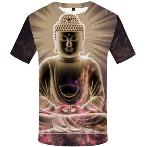 Buddha T shirts Men Meditation Shirt Print Psychedelic T-shirts 3d Colorful Tshirt Anime Space Tshirts Casual Short Sleeve - KYKU