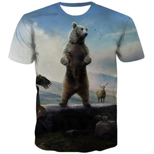 Russia T-shirt Men Bear Tshirts Novelty Animal Tshirt Printed Funny Tshirts Casual Harajuku Tshirt Anime Short Sleeve Punk Rock - KYKU