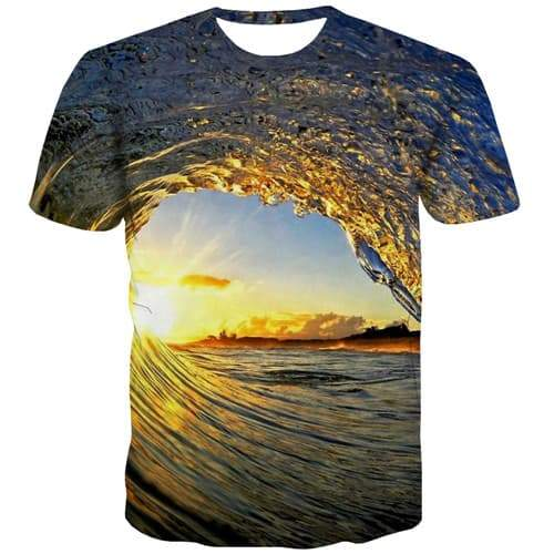 Wave T-shirt Men Harajuku Tshirts Cool Water Tshirt Anime Abstract T shirts Funny Gothic Tshirt Printed Short Sleeve Hip hop