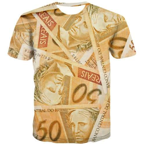 Money T shirts Men Funny Tshirts Novelty Vintage Tshirt Anime Harajuku Tshirt Printed Gothic Shirt Print Short Sleeve Full Print - KYKU