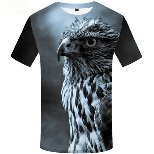Eagle T shirts Men Feather Tshirts Casual Gray Tshirt Printed Space T shirts Funny Animal T-shirts Graphic Short Sleeve T shirts