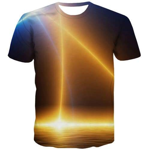 Galaxy Space T-shirt Men Flame Tshirts Cool Lightning Shirt Print Harajuku Tshirt Printed Gothic Tshirts Novelty Short Sleeve - KYKU