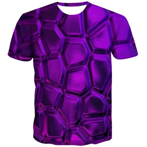 Psychedelic T-shirt Men Geometric T-shirts 3d Purple Tshirts Casual Abstract T shirts Funny Gothic Tshirt Printed Short Sleeve - KYKU
