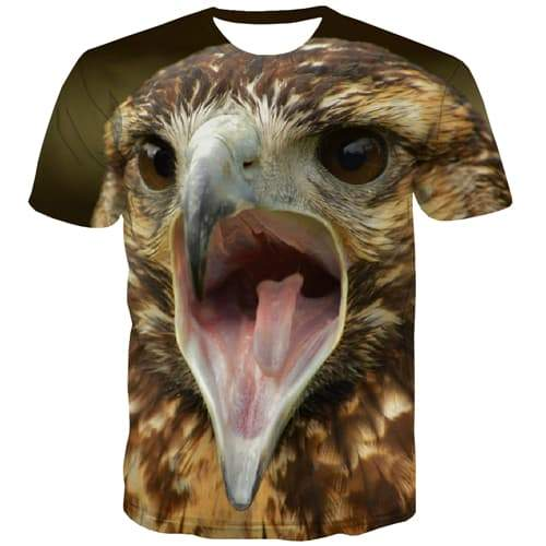 Eagle T-shirt Men Animal Tshirt Anime Ferocious Tshirts Cool Funny Tshirts Novelty Harajuku Shirt Print Short Sleeve T shirts - KYKU
