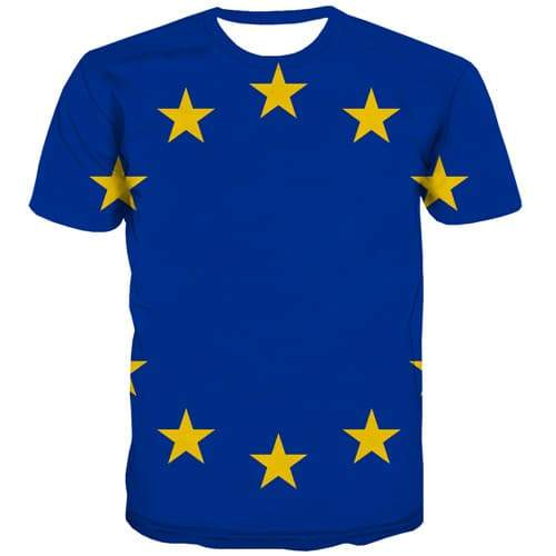 Eu Flag T shirts Men Europe T-shirts 3d Blue Shirt Print Star Tshirt Printed Harajuku T shirts Funny Short Sleeve summer - KYKU