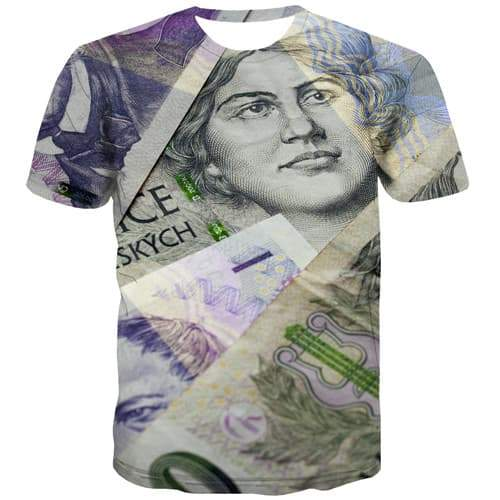 Money T shirts Men Character Tshirts Casual Czech Republic Tshirts Novelty Harajuku Tshirt Anime Abstract Shirt Print - KYKU