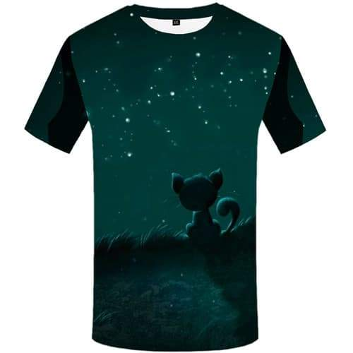 Cat T shirts Men Space Galaxy Tshirt Anime Animal Tshirt Printed Harajuku T-shirts 3d Mountain Shirt Print Short Sleeve Hip hop - KYKU