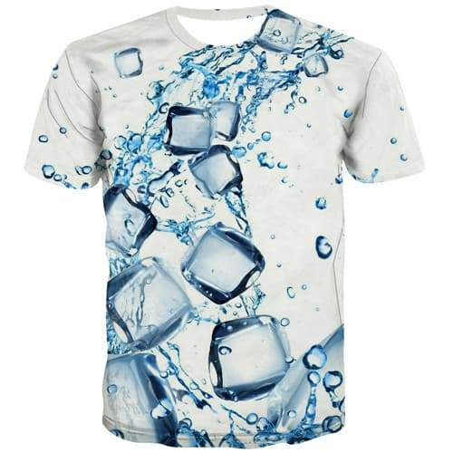 Water T-shirt Men Square Tshirts Cool White Shirt Print Harajuku Tshirts Novelty Novel Tshirt Anime Short Sleeve Fashion