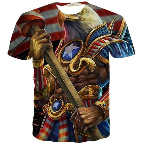 Eagle T shirts Men War Tshirts Novelty Animal Tshirts Casual Metal Shirt Print United States T-shirts 3d Short Sleeve summer - KYKU