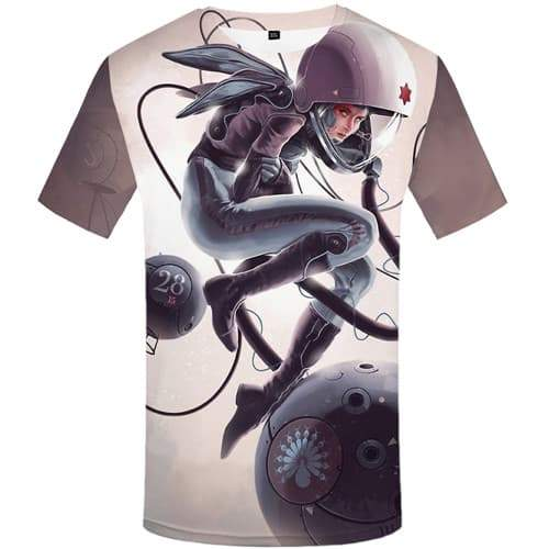 Galaxy Space T-shirt Men Astronaut T-shirts 3d Cartoon T shirts Funny Metal Shirt Print Gothic T-shirts Graphic Short Sleeve - KYKU