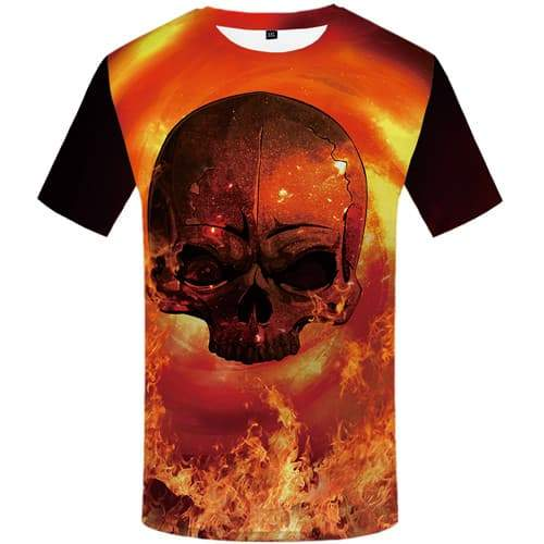 Skull T-shirt Men Flame T-shirts Graphic Space Tshirt Anime Psychedelic Tshirts Casual Gothic Shirt Print Short Sleeve summer - KYKU