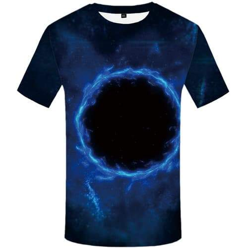 Galaxy T shirts Men Black Hole T-shirts Graphic Flame T shirts Funny Blue Tshirt Anime Space Shirt Print Short Sleeve Fashion - KYKU