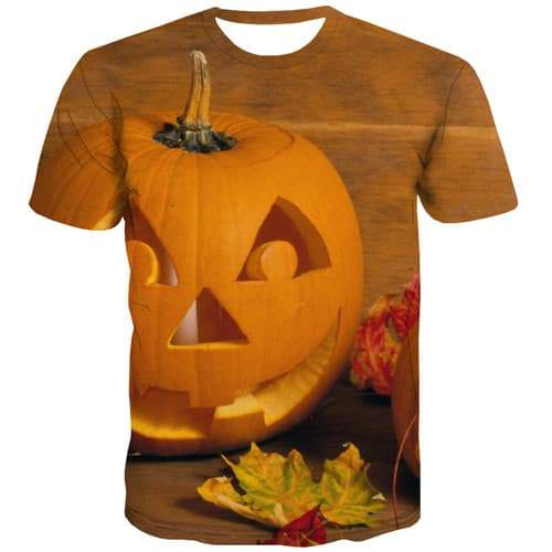 Pumpkin T shirts Men Halloween Tshirt Printed Terror Tshirt Anime Yellow Tshirts Casual Hip Hop Tshirts Novelty Short Sleeve