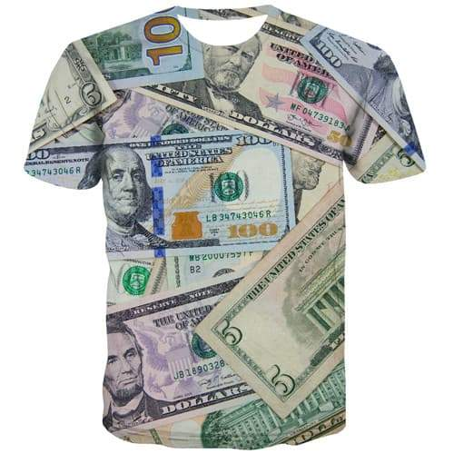 Dollar T shirts Men Money T-shirts 3d Character Tshirt Anime Colorful Tshirts Novelty Harajuku T-shirts Graphic Short Sleeve - KYKU