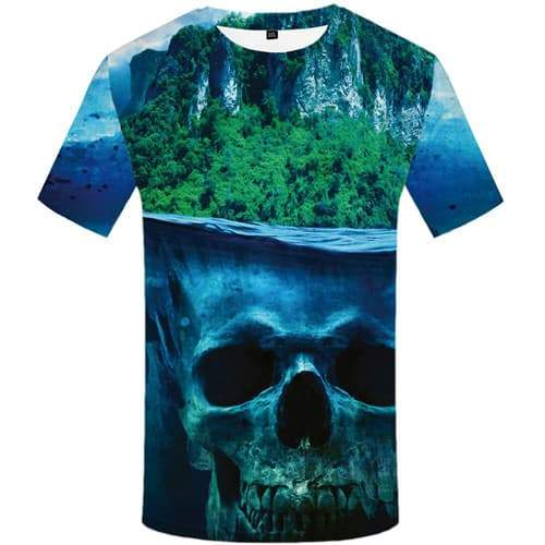 Skull T shirts Men Forest Tshirts Cool Mountain T shirts Funny Ocean Tshirts Novelty Harajuku Tshirt Anime Short Sleeve - KYKU