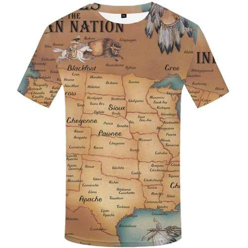 Indians T shirts Men Animal Tshirts Casual World Map Shirt Print Geometric T shirts Funny America Tshirt Anime Short Sleeve - KYKU