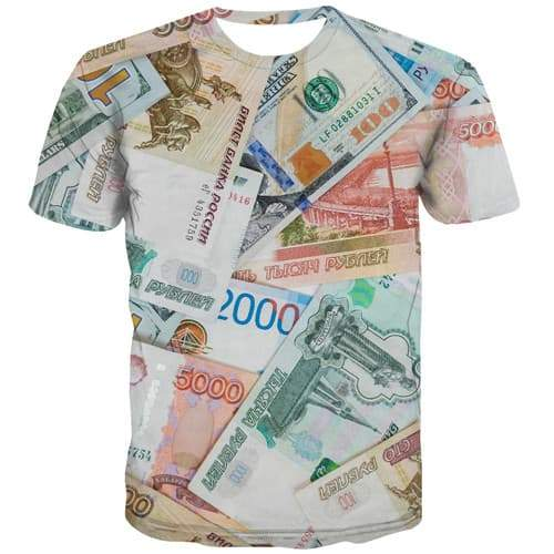 Russian Ruble T shirts Men Money Tshirt Printed Russia Tshirts Casual Funny T shirts Funny Harajuku Tshirt Anime Short Sleeve - KYKU