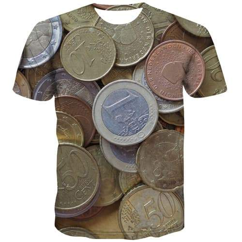 European Dollar T-shirt Men Money Tshirt Printed Metal Tshirt Anime Gothic Shirt Print Rock Tshirts Casual Short Sleeve T shirts - KYKU