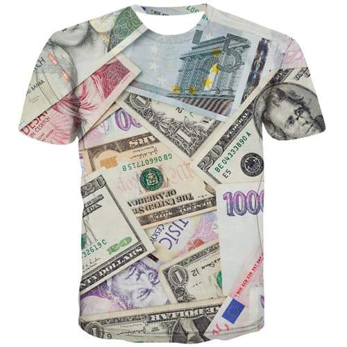 Money T shirts Men Czech Republic Tshirt Anime Harajuku Shirt Print Colorful Tshirts Casual Abstract T-shirts Graphic - KYKU