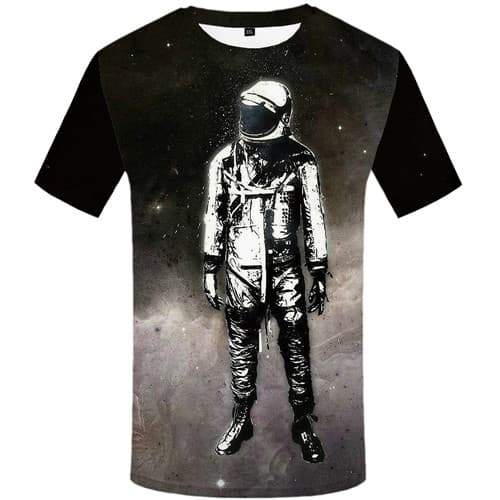 Astronaut T-shirt Men Space Galaxy Tshirt Anime Retro T shirts Funny Gothic Tshirts Casual Black And White Tshirt Printed - KYKU