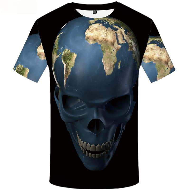 Skull T shirts Men World Map Tshirts Cool Black Tshirts Casual Space Tshirt Anime Earth Shirt Print Short Sleeve summer Mens