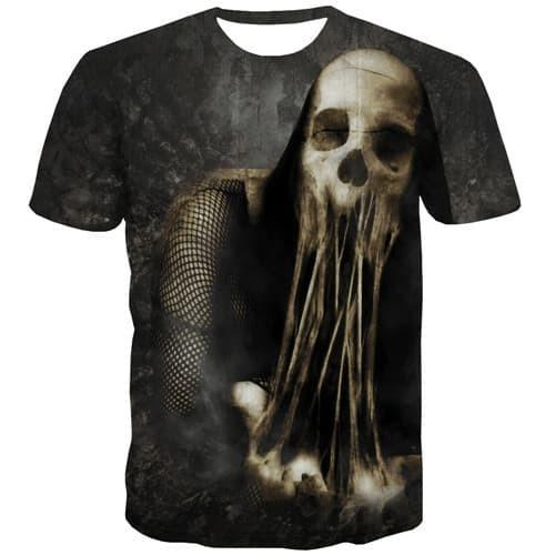 Skull T shirts Men Terror T-shirts 3d Skeleton T shirts Funny Hip Hop T-shirts Graphic Gothic Tshirts Cool Short Sleeve - KYKU