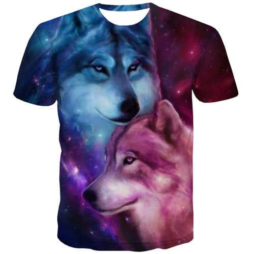 Wolf T-shirt Men Animal Shirt Print Galaxy Tshirts Novelty Colorful Tshirts Casual Harajuku T shirts Funny Short Sleeve Hip hop - KYKU